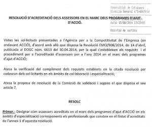 Consultores acreditados Acció Generalitat Catalunya