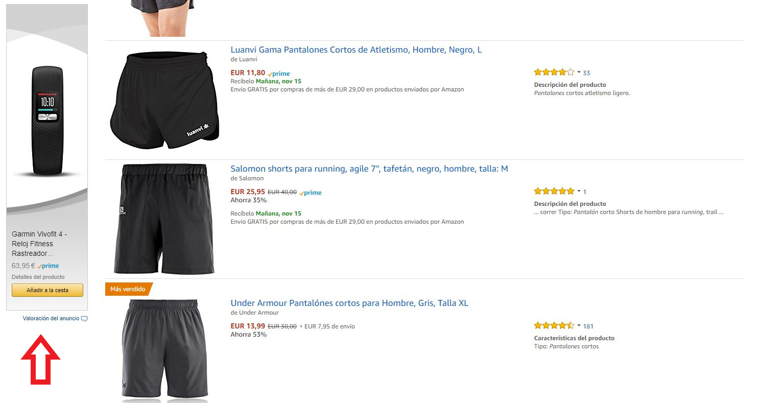Display de producto Amazon